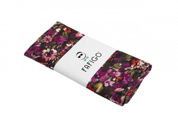 Schwarz lila Einstecktuch Fra Ludovico mit floralem Muster